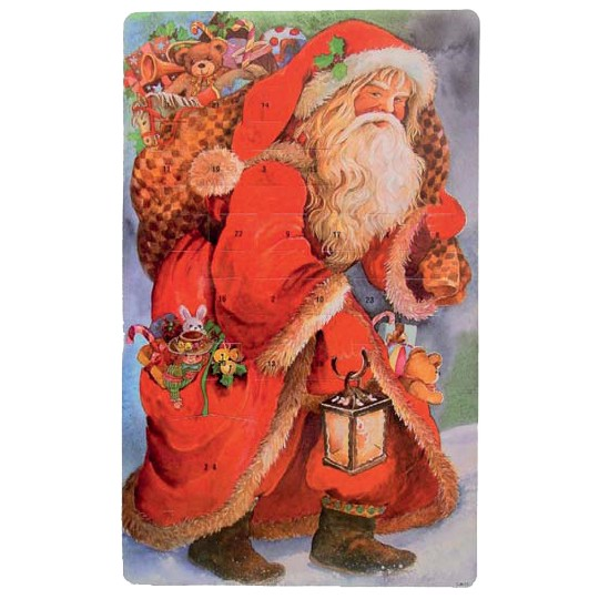 "Large Santa with Lantern Advent Calendar from Spain ~ 16-1/4"" tall"