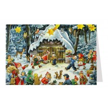 Children Bearing Gifts Advent Calendar Card ~ Germany