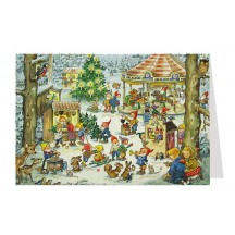 Gnome Christmas Fair Advent Calendar Card ~ Germany