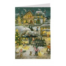 Santa by Train Advent Calendar Card ~ Germany