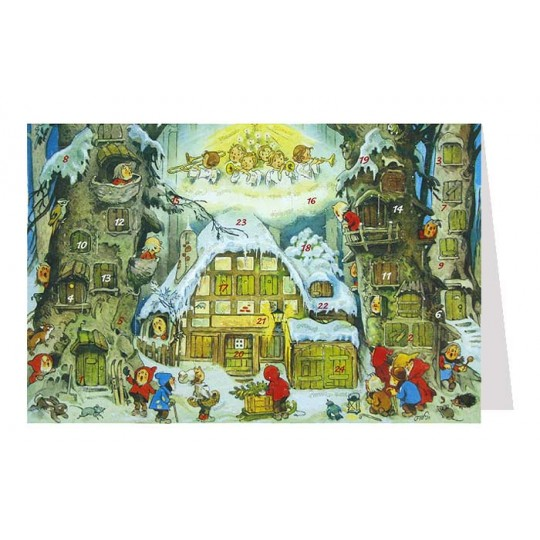 Angels and Gnomes Advent Calendar Card ~ Germany