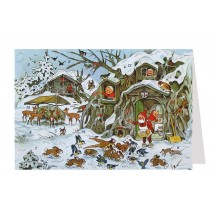 Gnomes Feeding Animals Advent Calendar Card ~ Germany