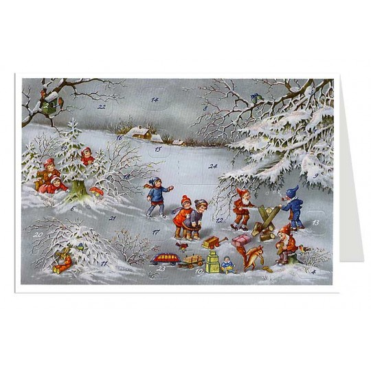 Sawing Logs Advent Calendar Card ~ Germany