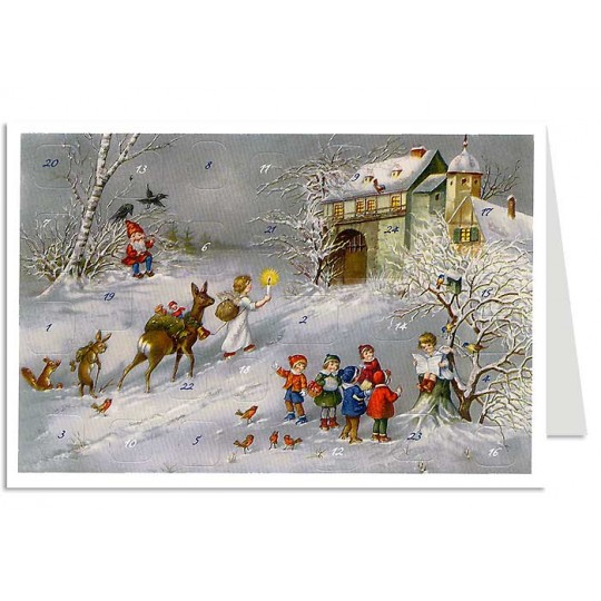 Children & Angels Advent Calendar Card ~ Germany