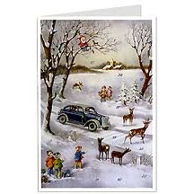 Snowy Automobile Advent Calendar Card ~ Germany