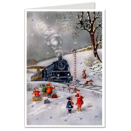 Snowy Locomotive Advent Calendar Card ~ Germany