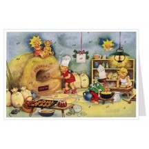 Angels Baking for Christmas Advent Calendar Card ~ Germany