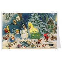 Snowman and Gnomes Advent Calendar Card ~ Germany
