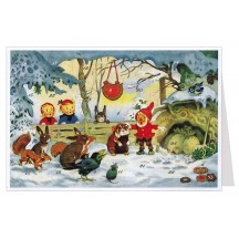 Gnome and Animals Advent Calendar Card ~ Germany