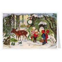 Gnomes with Reindeer Advent Calendar Card ~ Germany