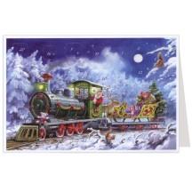Santa with Train Advent Calendar Card ~ Germany