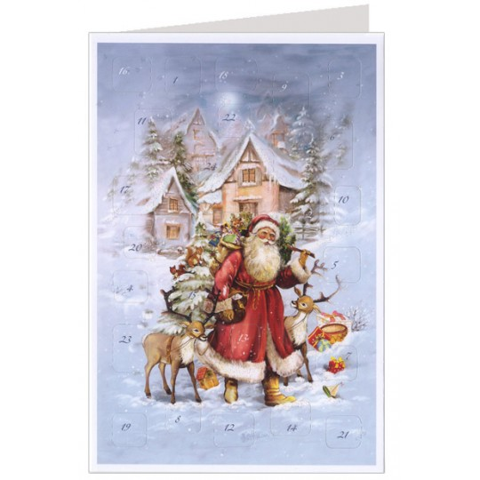 Santa with Reindeer Advent Calendar Card ~ Germany