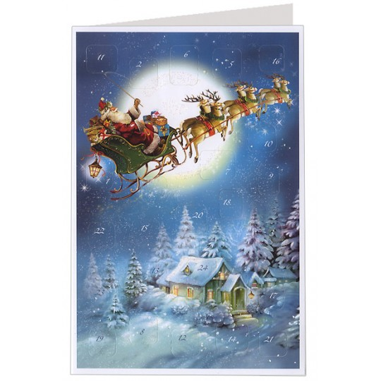 Santa's Flying Sleigh Advent Calendar Card ~ Germany