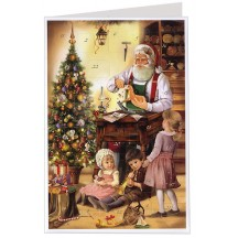 Santa's Workshop Advent Calendar Card ~ Germany