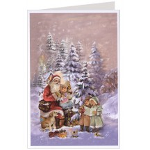 Christmas Carols with Santa Advent Calendar Card ~ Germany