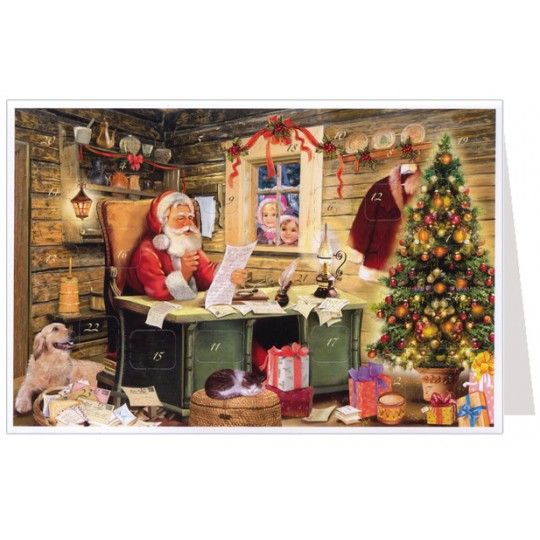 Santa Checking His List Advent Calendar Card ~ Germany