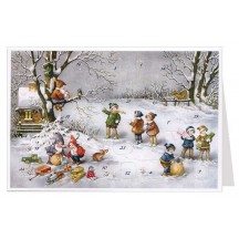 Children and Gnomes with Gifts Advent Calendar Card ~ Germany
