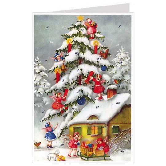 Angels with Tree Candles Advent Calendar Card ~ Germany