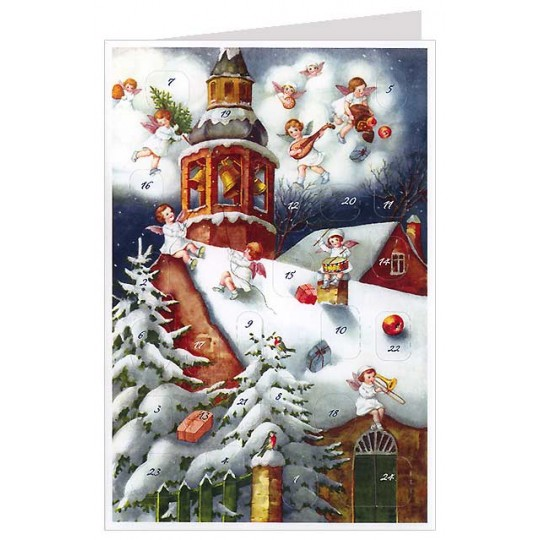 Musican Angels on Snowy Church Roof Advent Calendar Card ~ Germany