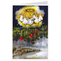 Snowy Village with Angels Advent Calendar Card ~ Germany