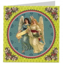 Angels with Greenery Advent Calendar Christmas Card ~ Germany ~ 6-1/2""