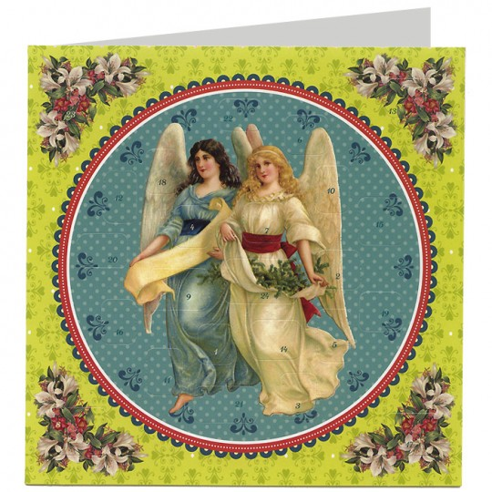 """Angels with Greenery Advent Calendar Christmas Card ~ Germany ~ 6-1/2"""""""