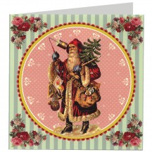 Saint Nicholas with Tree and Toys Advent Calendar Christmas Card ~ Germany ~ 6-1/2""