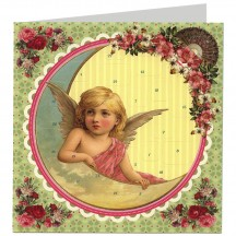 Angels with Moon Advent Calendar Christmas Card ~ Germany ~ 6-1/2""