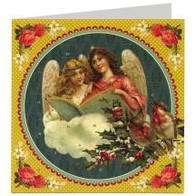"Angels with Birds Advent Calendar Christmas Card ~ Germany ~ 6-1/2"""