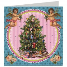 Cherubs with Tree Advent Calendar Christmas Card ~ Germany ~ 6-1/2""