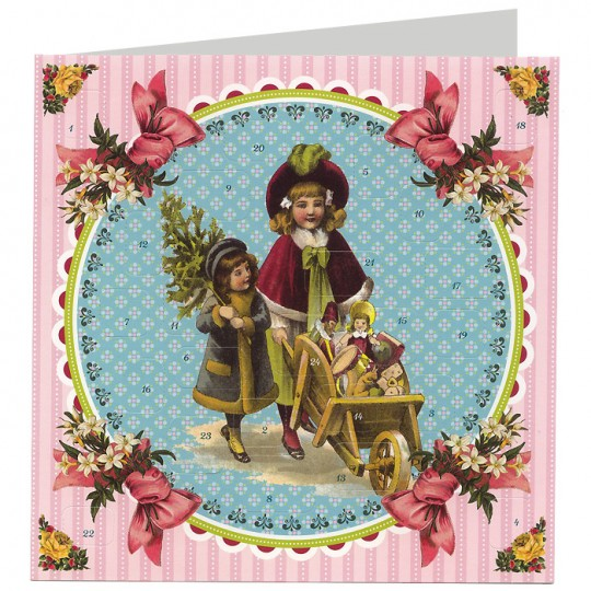 """Children with Toys and Tree Advent Calendar Christmas Card ~ Germany ~ 6-1/2"""""""