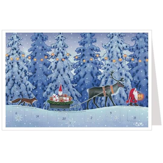 Tomte with Reindeer Sleigh Advent Calendar Card ~ Germany