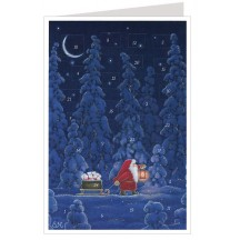 Tomte with Gift Sled Advent Calendar Card ~ Germany
