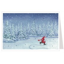 Skating Tomte Advent Calendar Card ~ Germany