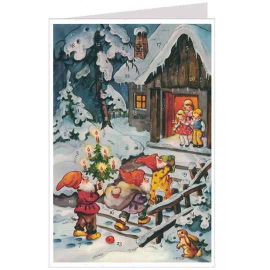 Gnome Gift Delivery Advent Calendar Card ~ Germany