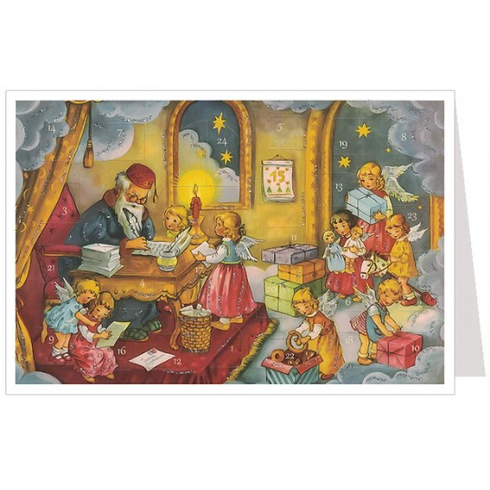Angel's Checking the List Advent Calendar Card ~ Germany