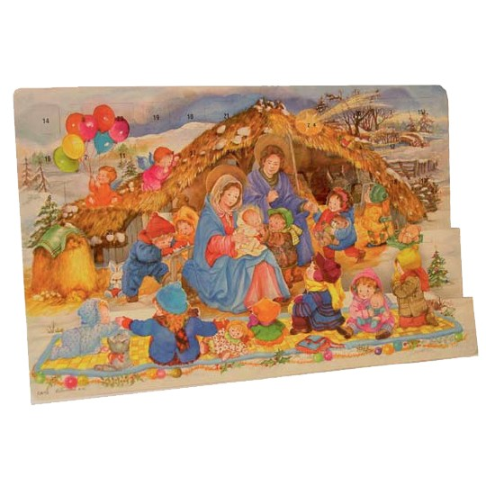 "Large Colorful Children's Nativity Advent Calendar from Spain ~ 16-1/4"" wide"