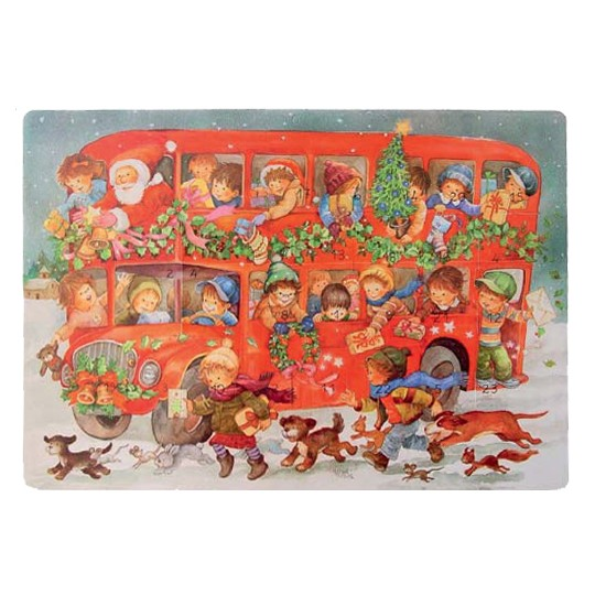 "Large Double Decker Red Bus Advent Calendar from Spain ~ 16-1/4"" wide"