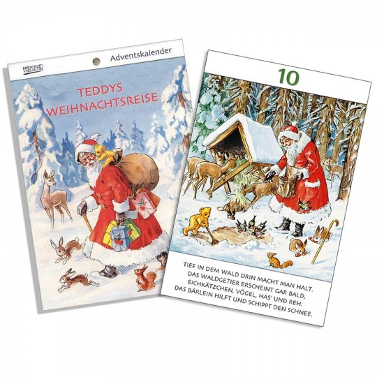 "Teddy's Christmas Travels Advent Calendar Booklet ~ Germany ~ 7-1/2"" x 5-1/4"""
