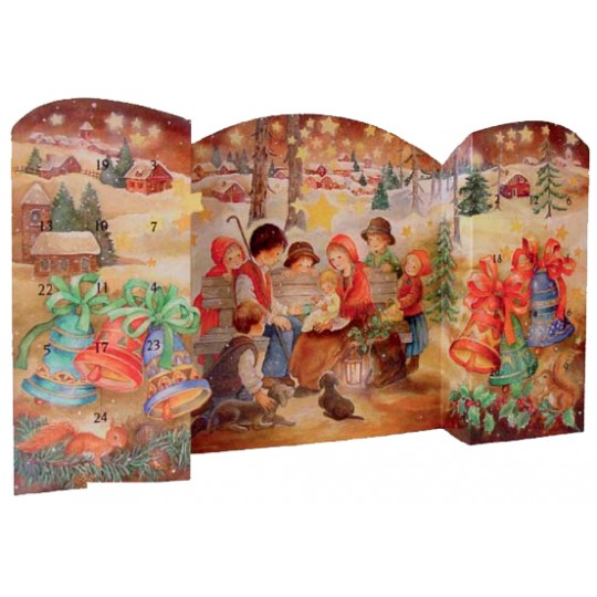 "Large Children's Nativity Standing Advent Calendar from Spain ~ 21"" wide"