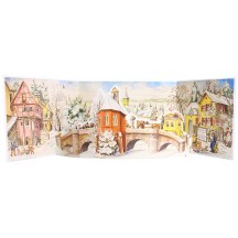 Snowy Village Bridge Panoramic Standing Advent Calendar