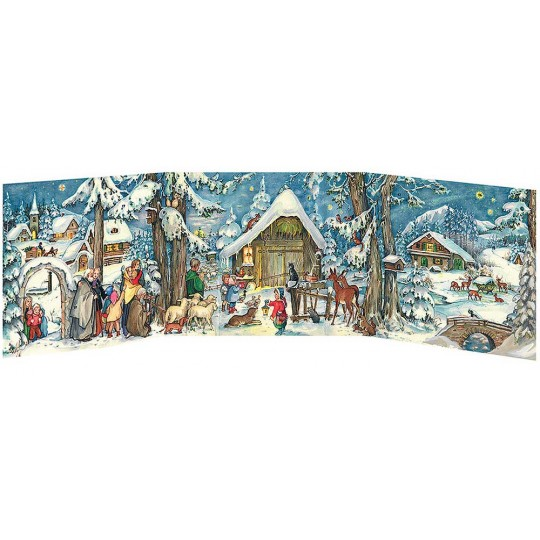 "Snowy Village Manger Folding Advent Calendar ~ 27-1/2"" by 8-1/8"""