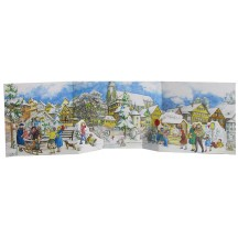 "Snowy Town Center Folding Advent Calendar ~ 27-1/2"" by 8-1/8"""