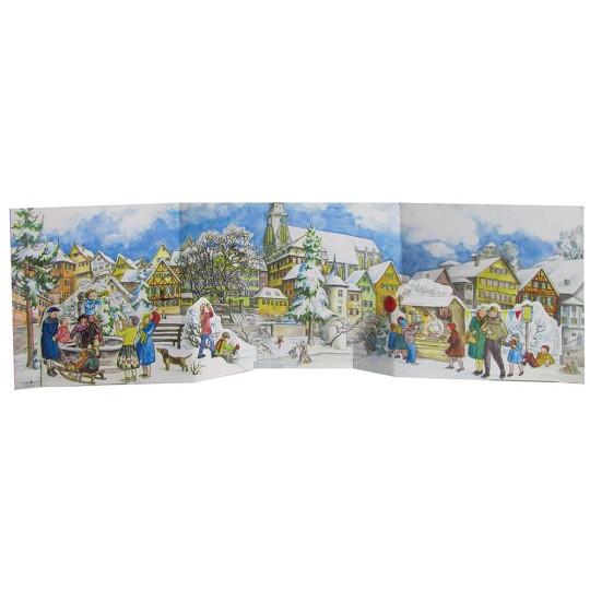 "Snowy Town Center Folding Advent Calendar ~ 27-1/2"" by 8-1/8"""