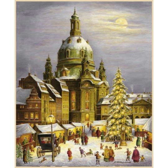 "Christmas at the Dresden Frauenkirche Advent Calendar ~ Germany ~ 12-1/2"" x 10-1/4"""