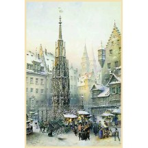 "Nurnberg Christmas Market Advent Calendar ~ Germany ~ 14"" x 10-1/4"""