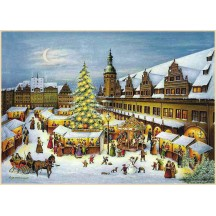 "Leipzig Christmas Market Advent Calendar ~ Germany ~ 14-3/4"" x 10-1/4"""