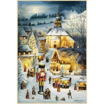 "Seiffen Christmas Market Advent Calendar ~ Germany ~ 14-3/4"" x 10-1/4"""