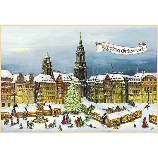 "Dresden Christmas Market Advent Calendar ~ Germany ~ 14-3/4"" x 10-1/4"""