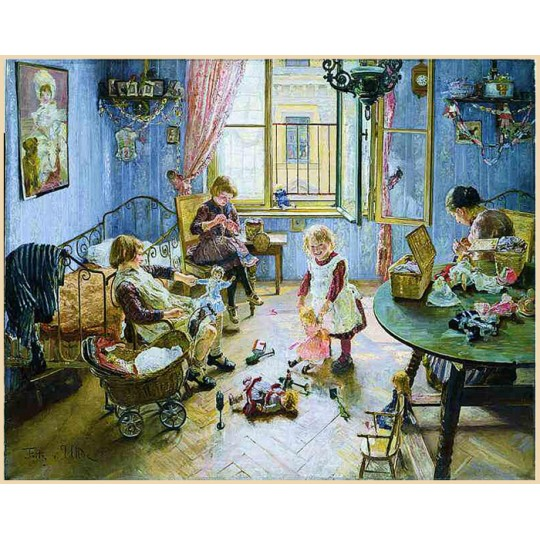 "Beautiful Blue Children's Nursery Advent Calendar ~ Germany ~ 13"" x 10-1/4"""